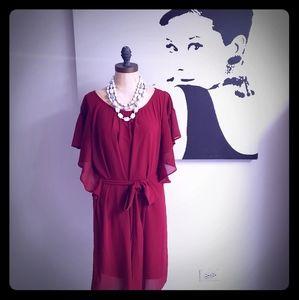 Burgundy Tie Around Midi Dress